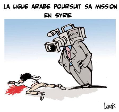 La ligue arabe poursuit sa mission en Syrie - Dessins et Caricatures, Lounis Le jour d'Algérie - Gagdz.com