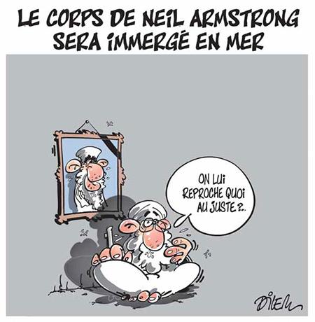 Le corps de Neil Armstrong sera immergé en mer - Dessins et Caricatures, Dilem - Liberté - Gagdz.com