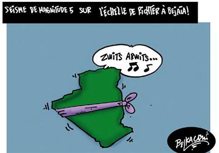 Seisme de magnitude 5 sur l'échelle de richter à Béjaia - Belkacem - Le Courrier d'Algérie, Dessins et Caricatures - Gagdz.com