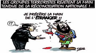 Les groupes térroristes rejetent la main tendue de la réconciliation nationale - Dessins et Caricatures, Sidou - Gagdz.com