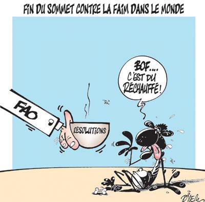Fin du sommet contre la faim dans le monde - Dessins et Caricatures, Dilem - Liberté - Gagdz.com