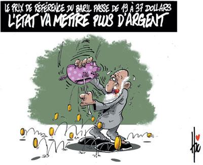 Le prix de référence du baril passe de 19 à 37 dollars: L'état va mettre plus d'argent - Dessins et Caricatures, Le Hic - El Watan - Gagdz.com