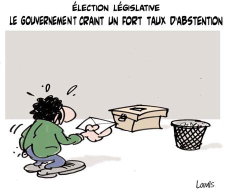 Election législative: Le gouvernement craint un fort taux d'abstention - Dessins et Caricatures, Lounis Le jour d'Algérie - Gagdz.com