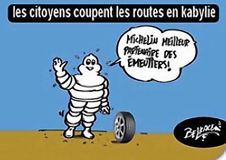 Les citoyens coupent les routes en kabylie - Belkacem - Le Courrier d'Algérie, Dessins et Caricatures - Gagdz.com