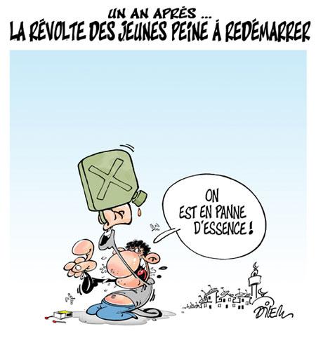 Un an après: La révolte des jeunes peine à redémarrer - Dessins et Caricatures, Dilem - Liberté - Gagdz.com