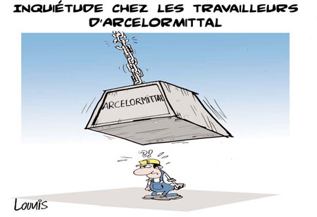 Inquiétude chez les travailleurs d'Arcelor mittal - Dessins et Caricatures, Lounis Le jour d'Algérie - Gagdz.com