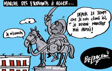 Marche des étudiants à Alger - Belkacem - Le Courrier d'Algérie, Dessins et Caricatures - Gagdz.com