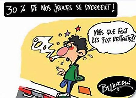 30% de nos jeunes se droguent - Belkacem - Le Courrier d'Algérie, Dessins et Caricatures - Gagdz.com