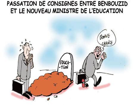 Passation de consignes entre Benbouzid et le nouveau ministre de l'éducation - Dessins et Caricatures, Jony-Mar - La voix de l'Oranie - Gagdz.com