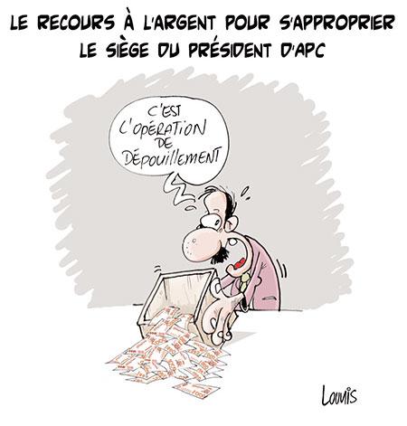 Le recours à l'argent pour s'approprier le siège du président d'APC - Dessins et Caricatures, Lounis Le jour d'Algérie - Gagdz.com