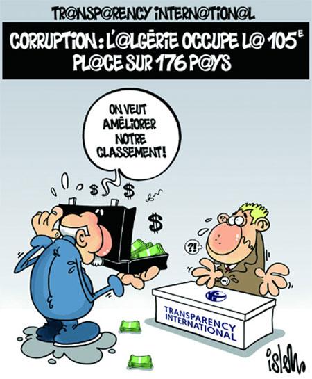 Transparency international: Corruption: L'Algérie occupe la 105e place sur 176 pays - Dessins et Caricatures, Islem - Le Temps d'Algérie - Gagdz.com