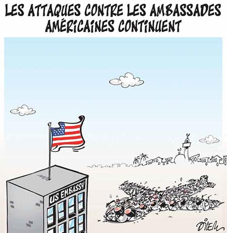 Les attaques contre les ambassades américanes continuent - Dessins et Caricatures, Dilem - Liberté - Gagdz.com
