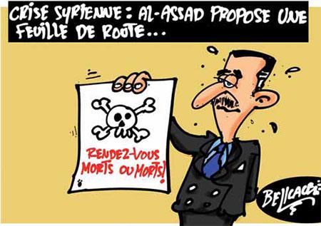 Crise syrienne: Al-Assad propose une feuille de route - Belkacem - Le Courrier d'Algérie, Dessins et Caricatures - Gagdz.com