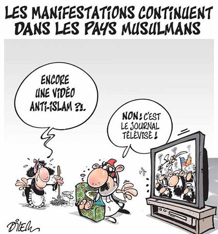 Les manifestations continuent dans les pays musulmans - Dessins et Caricatures, Dilem - Liberté - Gagdz.com