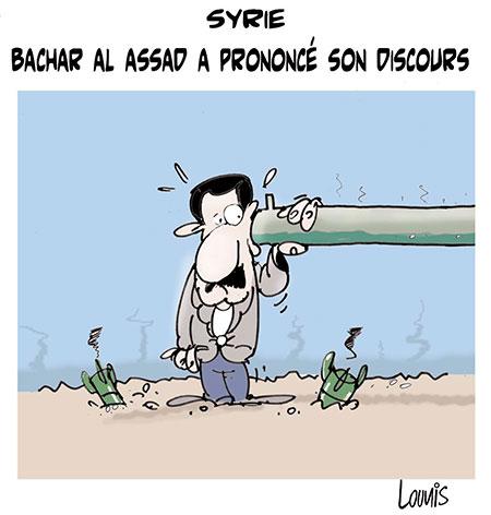 Syrie: Bachar Al Assad a prononcé son discours - Dessins et Caricatures, Lounis Le jour d'Algérie - Gagdz.com
