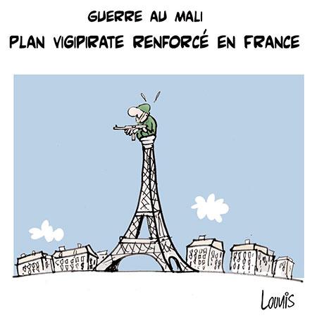 Guerre au Mali: Plan vigipirate renforcé en France - Dessins et Caricatures, Lounis Le jour d'Algérie - Gagdz.com