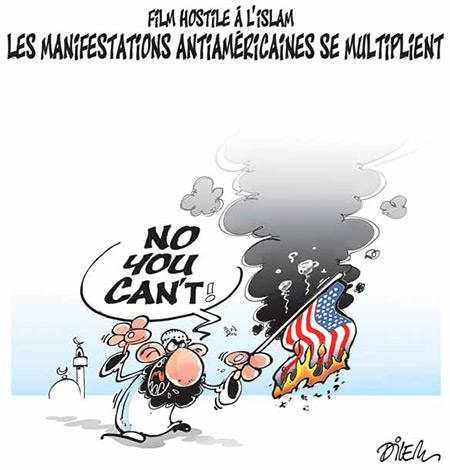 Film hostile à l'islam: Les manifestations antiaméricaines se multiplient - Dessins et Caricatures, Dilem - Liberté - Gagdz.com