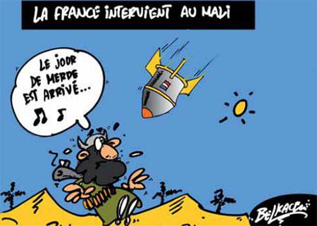 La France intervient au Mali - Belkacem - Le Courrier d'Algérie, Dessins et Caricatures - Gagdz.com
