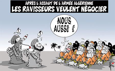 Après l'assaut de l'armée algérienne: Les ravisseurs veulent négocier - Dessins et Caricatures, Le Hic - El Watan - Gagdz.com