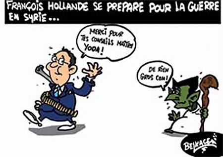 François Hollande se prépare pour la guerre en Syrie - Belkacem - Le Courrier d'Algérie, Dessins et Caricatures - Gagdz.com