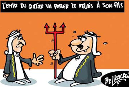 L'émir du Qatar va passer le relais à son fils - Belkacem - Le Courrier d'Algérie, Dessins et Caricatures - Gagdz.com