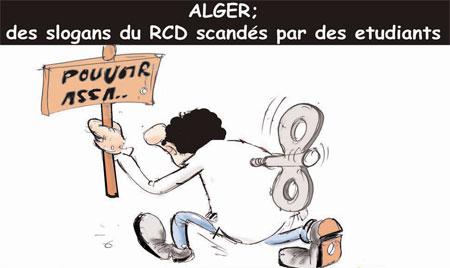 Alger: Des slogans du RCD scandés par des étudiants - Dessins et Caricatures, Jony-Mar - La voix de l'Oranie - Gagdz.com