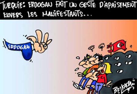 Turquie: Erdogan fait un geste d'apaisement envers les manifestants - Belkacem - Le Courrier d'Algérie, Dessins et Caricatures - Gagdz.com
