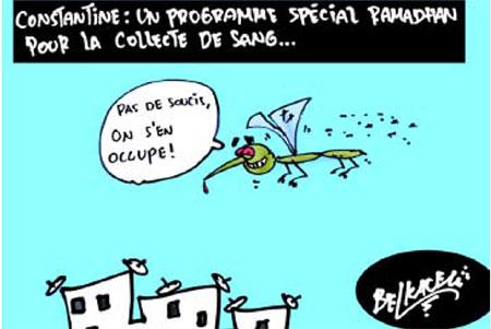 Constantine: Un programme spécial ramadhan pour la collecte de sang - Belkacem - Le Courrier d'Algérie, Dessins et Caricatures - Gagdz.com