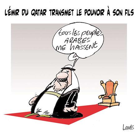 L'émir du Qatar transmet le pouvoir à son fils - Dessins et Caricatures, Lounis Le jour d'Algérie - Gagdz.com