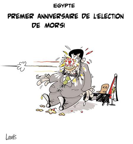 Egypte: Premier anniversaire de l'élection de Morsi - Dessins et Caricatures, Lounis Le jour d'Algérie - Gagdz.com