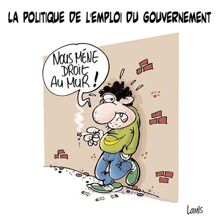 La politique de l'emploi du gouvernement - Dessins et Caricatures, Lounis Le jour d'Algérie - Gagdz.com