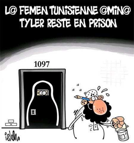 La femme tunisienne Amina Tyler reste en prison - Dessins et Caricatures, Islem - Le Temps d'Algérie - Gagdz.com
