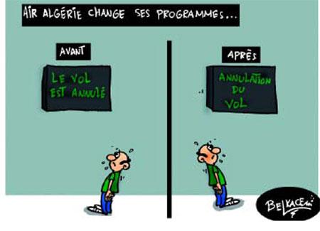 Air Algérie change ses programmes - Belkacem - Le Courrier d'Algérie, Dessins et Caricatures - Gagdz.com