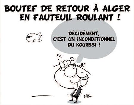 Boutef de retour à Alger en fauteuil roulant - Dessins et Caricatures, Vitamine - Le Soir d'Algérie - Gagdz.com