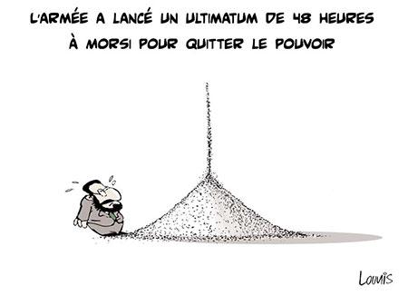 L'armée a lancé un ultimatum de 48 heures à Morsi pour quitter le pouvoir - Dessins et Caricatures, Lounis Le jour d'Algérie - Gagdz.com