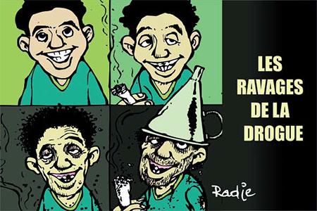 Les ravages de la drogue - Dessins et Caricatures, Ghir Hak - Les Débats - Gagdz.com