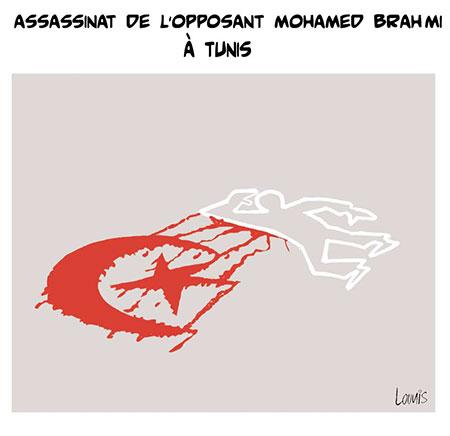 Assassinat de l'opposant Mohamed Brahmi à Tunis - Dessins et Caricatures, Lounis Le jour d'Algérie - Gagdz.com