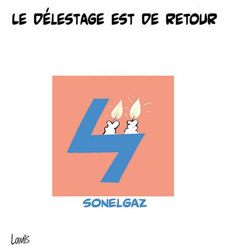 Le délestage est de retour - Dessins et Caricatures, Lounis Le jour d'Algérie - Gagdz.com