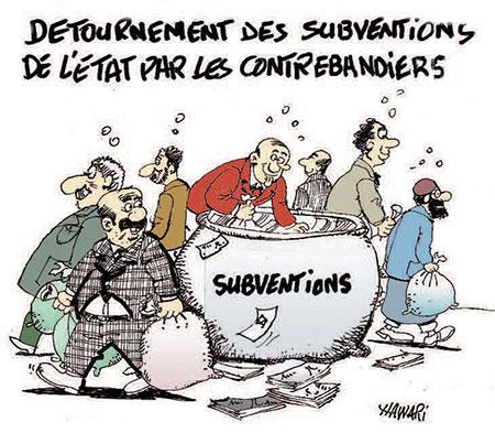 Détournement des subventions de l'état par les contrebandiers - Dessins et Caricatures - Gagdz.com