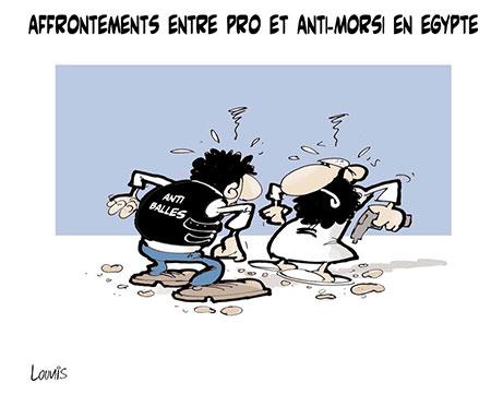 Affrontements entre pro et anti-Morsi en Egypte - Dessins et Caricatures, Lounis Le jour d'Algérie - Gagdz.com