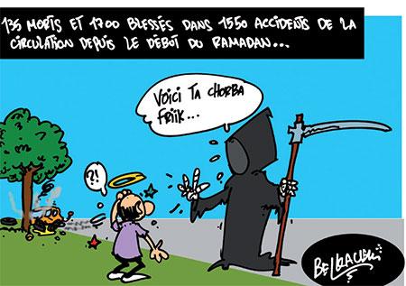 135 morts et 1700 blessés dans 1550 accidents de la circulation depuis le début de ramadan - Belkacem - Le Courrier d'Algérie, Dessins et Caricatures - Gagdz.com