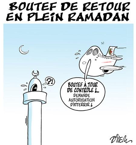 Bouteflika de retour en plein ramadan - Dessins et Caricatures, Dilem - Liberté - Gagdz.com