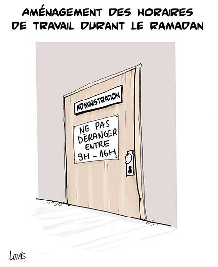 Aménagement des horraires de travail durant le ramadan - Dessins et Caricatures, Lounis Le jour d'Algérie - Gagdz.com