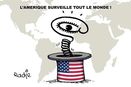 L'Amérique surveille tout le monde - Dessins et Caricatures, Ghir Hak - Les Débats - Gagdz.com