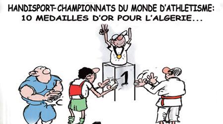 Handisport-Championnats du monde d'athletisme: 10 médailles d'or pour l'Algérie - Dessins et Caricatures, Jony-Mar - La voix de l'Oranie - Gagdz.com