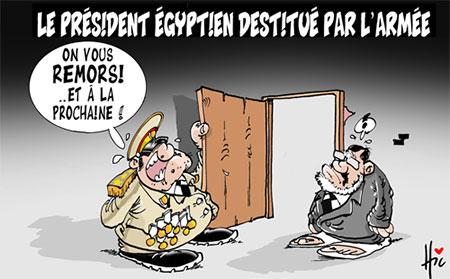 Les président égyptien destitué par l'armée - Dessins et Caricatures, Le Hic - El Watan - Gagdz.com
