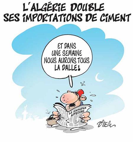 L'Algérie double ses importations de ciment - Dessins et Caricatures, Dilem - Liberté - Gagdz.com