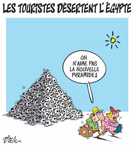 Les touristes désertent l'Egypte - Dessins et Caricatures, Dilem - Liberté - Gagdz.com