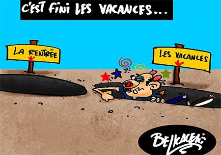 C'est fini les vacances - Belkacem - Le Courrier d'Algérie, Dessins et Caricatures - Gagdz.com