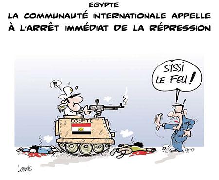 Egypte: La communauté internationale appelle a l'arrêt immédiat de la répression - Dessins et Caricatures, Lounis Le jour d'Algérie - Gagdz.com